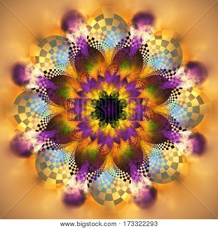 Exotic Flower. Abstract Fractal Mandala In Orange, Purple, Blue, Green And Black Colors. Digital Art