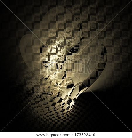 Abstract Distorted Checkered Shapes On Black Background. Fantasy Fractal Texture In Beige Colors. 3D
