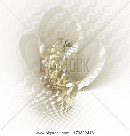 Abstract Distorted Checkered Shapes On White Background. Fantasy Fractal Texture In Beige And Grey C