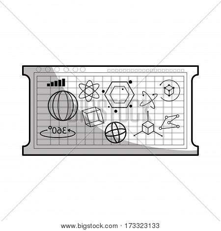 board with geometric figures over white background. vector illustration
