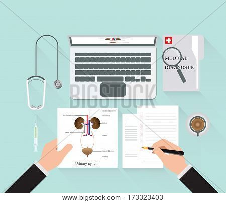 Medical diagnostics conceptual on work table with doctor diagnostic analysis and research Structure and function of urinary system and equipment for research of a laptop Medical technology Web banner flat design Vector illustration.
