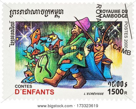 MOSCOW RUSSIA - February 24 2017: A stamp printed in Cambodia shows scene from a fairy tale