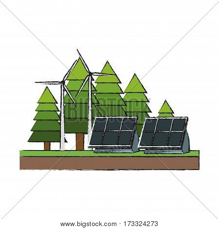 forest with solar panels and eolic turbines over white background. colorful design. vector illustration