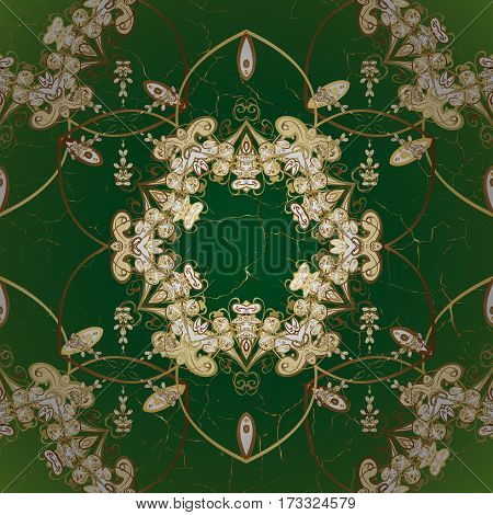 Vector abstract floral wreath from golden doodle fantasy leaves and flower on a green background. Hand drawn decorative frame album cover invitation greeting card vintage Art deco style.