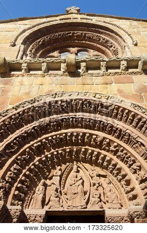 detail of the facade of the Santo Domingo church in Soria, Spain.