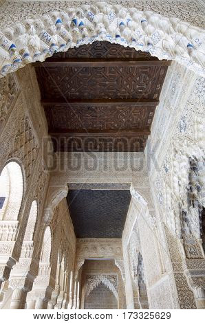 Dome in Nasrid Palaces, Alhambra, Granada, Andalucia, Spain