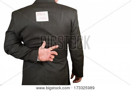 Businessman fool's day with a sheet on her back, isolated.
