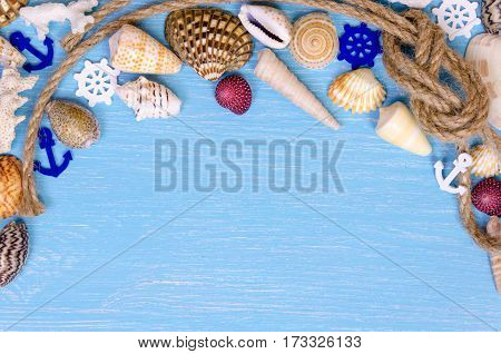 Summer Background Made Of Seashells And Maritime Objects