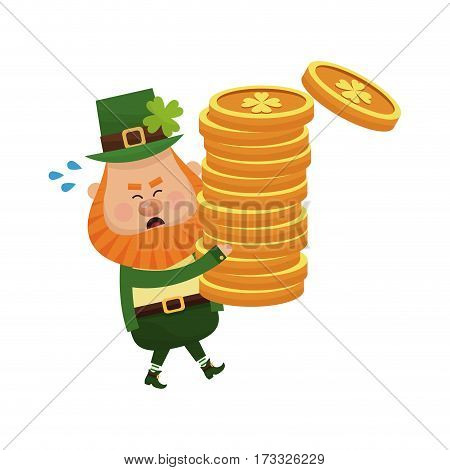 irish leprechaun with golden coins over white background. colorful design. vector illustration
