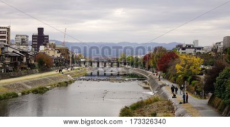 Cityscape With The River In Kyoto, Japan