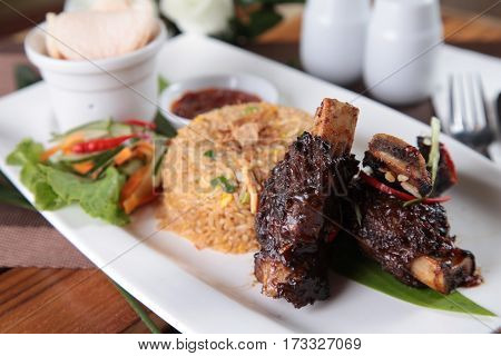 indonesian famous food nasi goreng with beef ribs