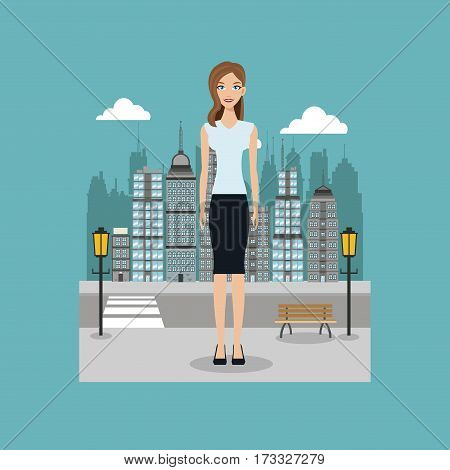 woman standing street city with brench and lamp post vector illustration eps 10