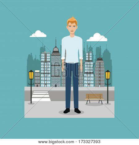 young guy standing street brench and lamp post city vector illustration eps 10
