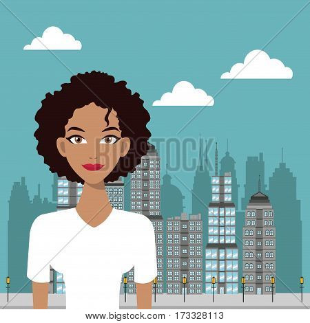 woman curly hair urban building background vector illustration eps 10