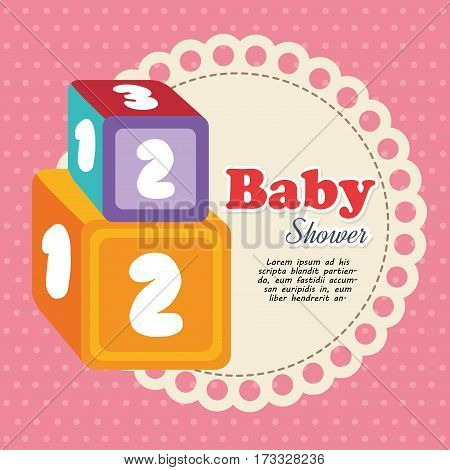 cubes with numbers baby shower card vector illustration design