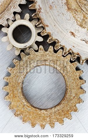 Industrial Metal Background With Rusty Gear Cogwheels In High Resolution