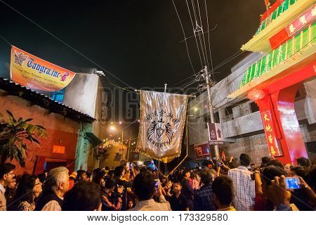 KOLKATA WEST BENGAL INDIA - FEBRUARY 7TH 2016: Celebration of Chinese new year at China Town Kolkata with Chinese red dragon . It is the year of the monkey as per chinese calender.