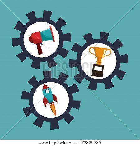 digital marketing gears cooperation vector illustration eps 10