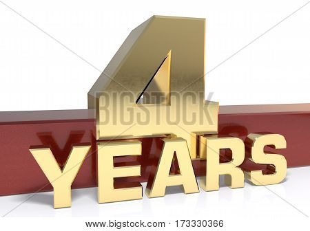 Golden digit four and the word  years. 3D illustration