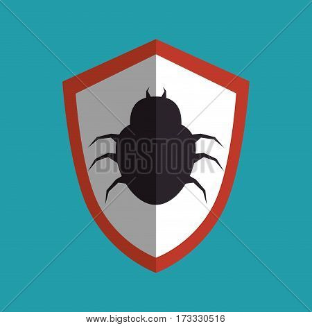 shield with bug icon vector illustration design