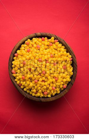 indian sweet boondi or bundi in raw form, main ingredient of bundi laddoo or can eat as is