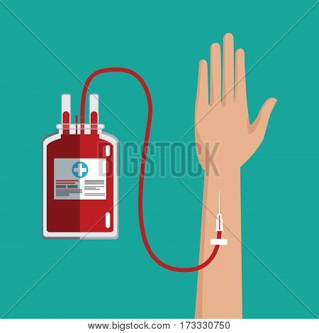 hand transfusion blood bag vector illustration eps 10