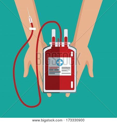 hand holding iv bag blood care vector illustration eps 10
