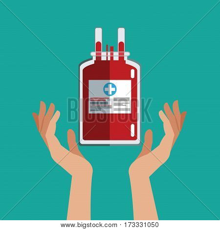 hand with iv bag donate blood vector illustration eps 10