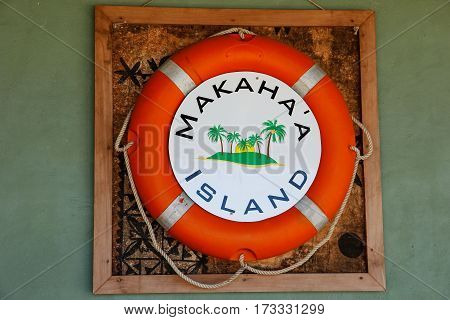 Life bouy on the wall at Makaha'a island near Tongatapu island in Tonga. Kindom of Tonga is an archipelago comprised of 169 islands