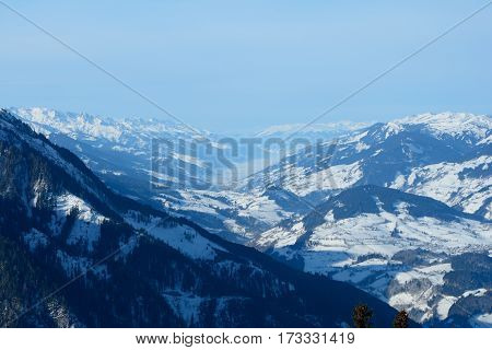 Valley and mountains nearby Wagrain and Alpendorf in Alps in Austria