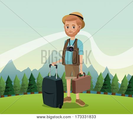 man bearded with camera suitcase baggage hat landscape background vector illustration eps 10