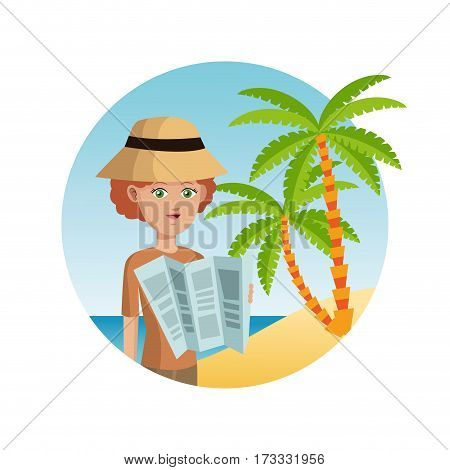 woman tourist hat reading map palm sand beach vector illustration eps 10