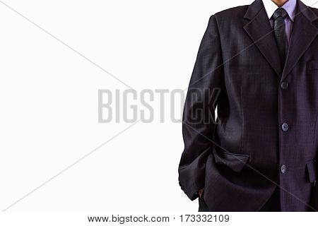 Business Man. Business working and business people concept. Business man pose on isolated white. Business man in suit. Business man background. Business man on white background suitable for all business advertising, business content.
