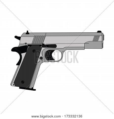 A flat image gray automatic pistol gun