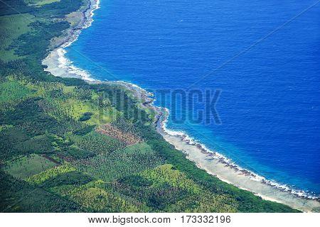 Aerial View Of Tongatapu Island Coastline In Tonga