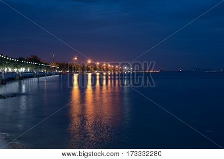 Reflection light on the sea from the bech with twilight sky.