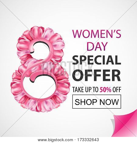 Women's Day Special Offer. Tulips. Vector sale banner. The 8th of March for your design