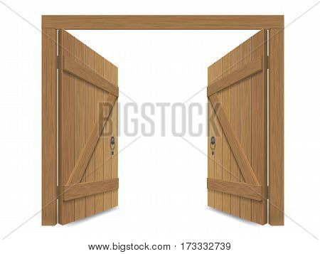 Old wooden massive opened gate. Double door with iron handles and hinges. Vector detailed illustration, isolated on white background.