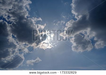 Sunshine from cloud and blue sky with day light.