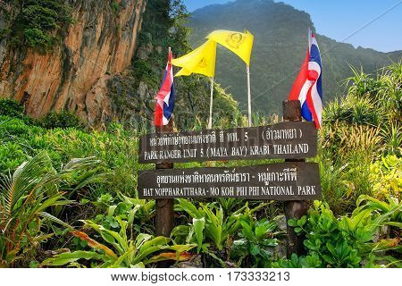 National Park Board On Phi Phi Leh Island, Krabi Province, Thailand