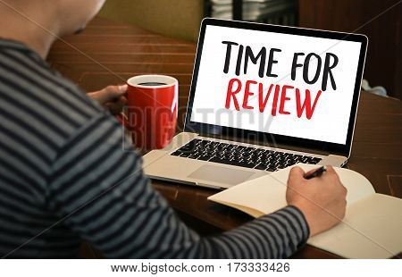 Review Time Business Concept , Time For Review , Business Team Hands At Work With Financial Reports