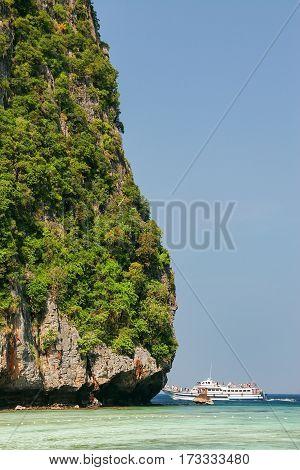 Detail Of Limestone Cliff Surrounding Maya Bay On Phi Phi Leh Island, Krabi Province, Thailand