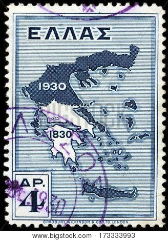 LUGA RUSSIA - FEBRUARY 7 2017: A stamp printed by GREECE shows Map of Greece (1830-1930) historically also known as Hellas - a country in southeastern Europe circa 1930