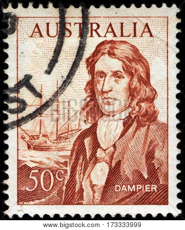 LUGA RUSSIA - FEBRUARY 7 2017: A stamp printed by AUSTRALIA shows image portrait of famous English explorer and navigator William Dampier circa 1964