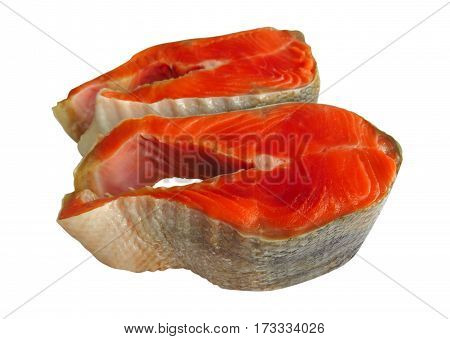 Salmon Red Fish Steaks isolated on a white background with clipping path