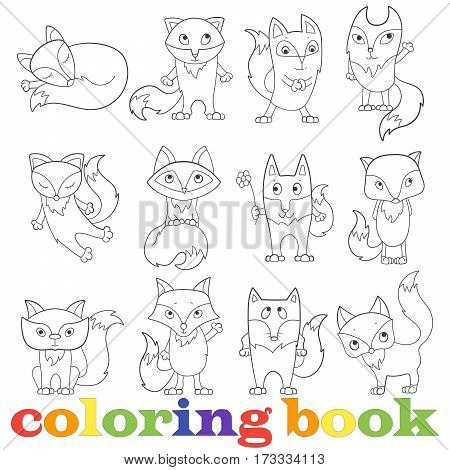 Illustration with set of contour funny foxes coloring book