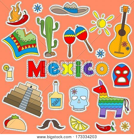 Illustration with a set of icons patches on the theme of travel in Mexico