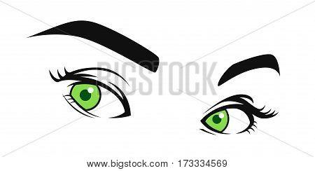 Green Eyes Side Glaring Visual Vector Illustration