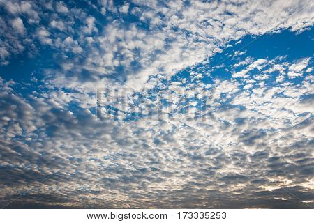 Clouds on the blue sky with morning light.
