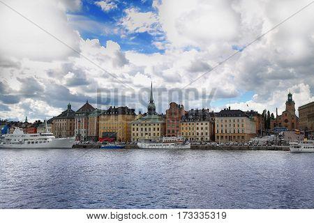 View of Gamla Stan from bridge Skeppsholmsbron in Stockholm Sweden